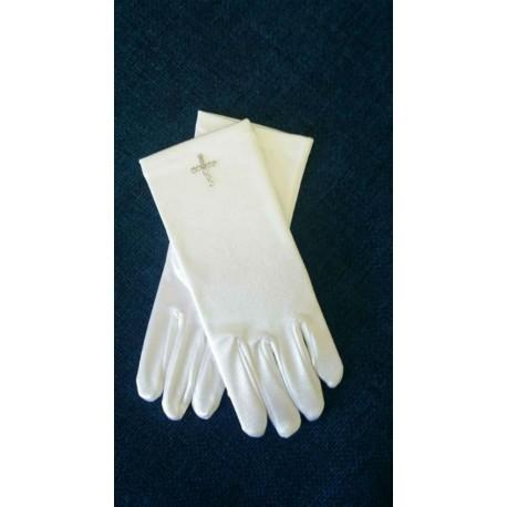 White Communion Gloves - Rhinestone Cross