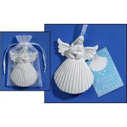 "Baptism Christening Shell - Crib Ornament Angel 4"""
